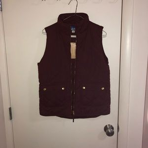Burgundy vest with gold buttons